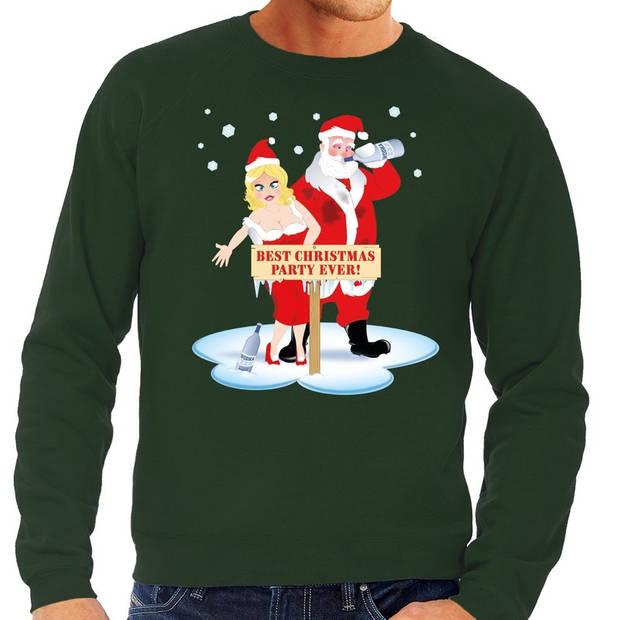 Foute kersttrui / sweater dronken kerstman en kerstvrouw na kerstborrel/ feest groen voor heren - Kersttruien L (52)