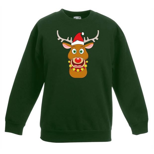 Groene kersttrui blije rendier Rudolf met rode kerstmuts voor jongens en meisjes - Kerstruien kind 9-11 jaar (134/146)