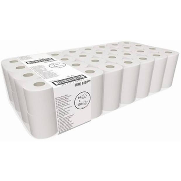 Toiletpapier wit 2-Laags, rol à 250 vel, 64 rollen per pak