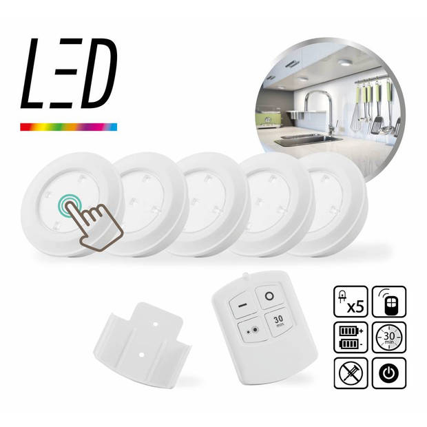 LED Lovers Draadloze LED lampen set incl. afstandsbediening (6-delig)