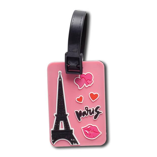 Fabrizio kofferlabels Paris 7,5 x 5 cm roze 2 stuks