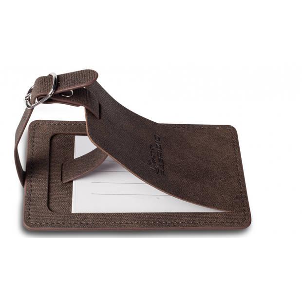Fabrizio kofferlabels 12 x 7 cm bruin 2 stuks