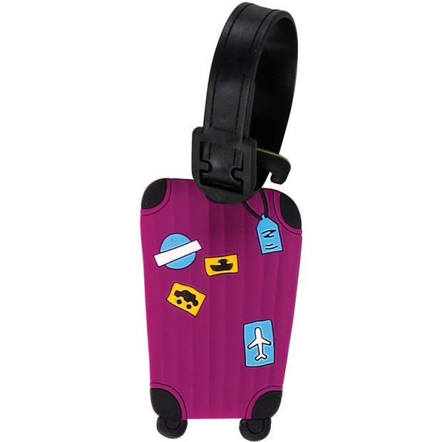 Fabrizio kofferlabels 9 x 5,5 cm paars 2 stuks