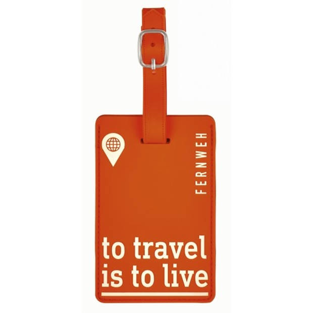 Moses kofferlabel To Travel is To Live 11 x 7 cm oranje