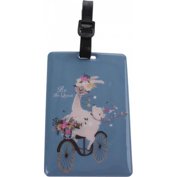 Fabrizio kofferlabel lama 11 x 7,5 cm blauw