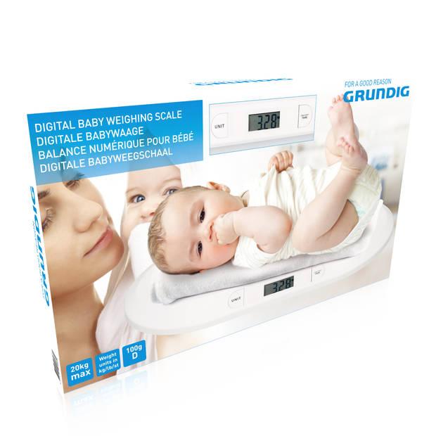 Grundig Babyweegschaal - Digitaal - 10 Gram Nauwkeurig - Max 20 Kilo - Tare-Functie - Wit