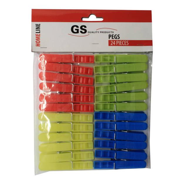Knijpers plastic 24 stuks 4 kleuren
