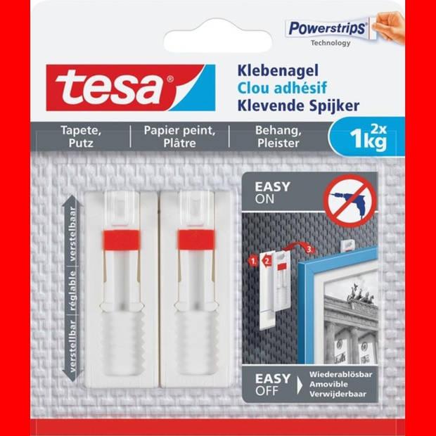 12x Tesa Klevende Spijker voor Behang en Pleisterwerk, verstelbaar, draagvermogen 1 kg, blister a 2 stuks