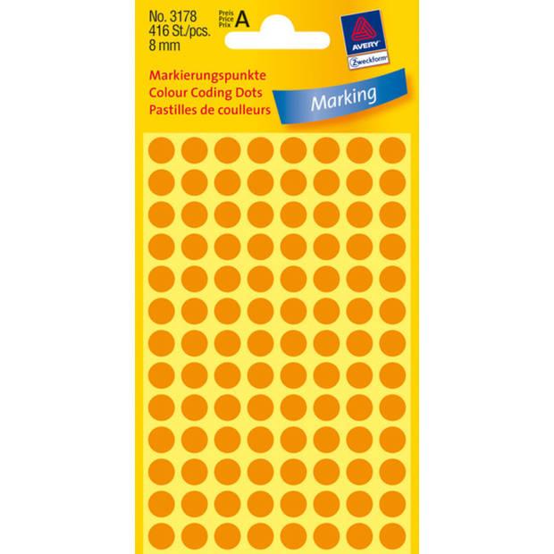 etiket Zweckform 8mm rond 4 vel a 104 etiketjes lichtoranje
