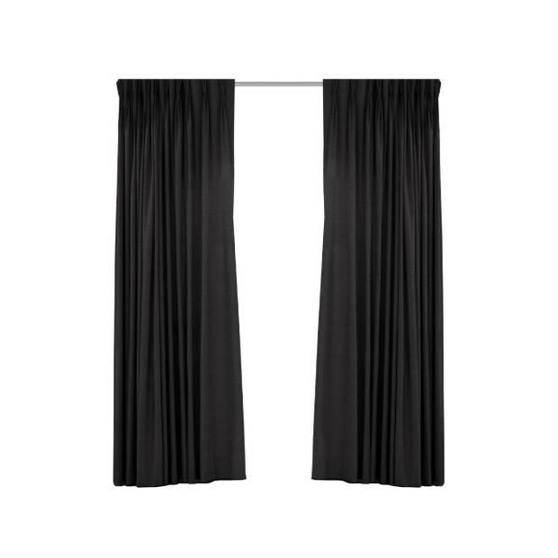 Geweven verduisterend gordijn - Larson - Black - Haken - 300x250 cm