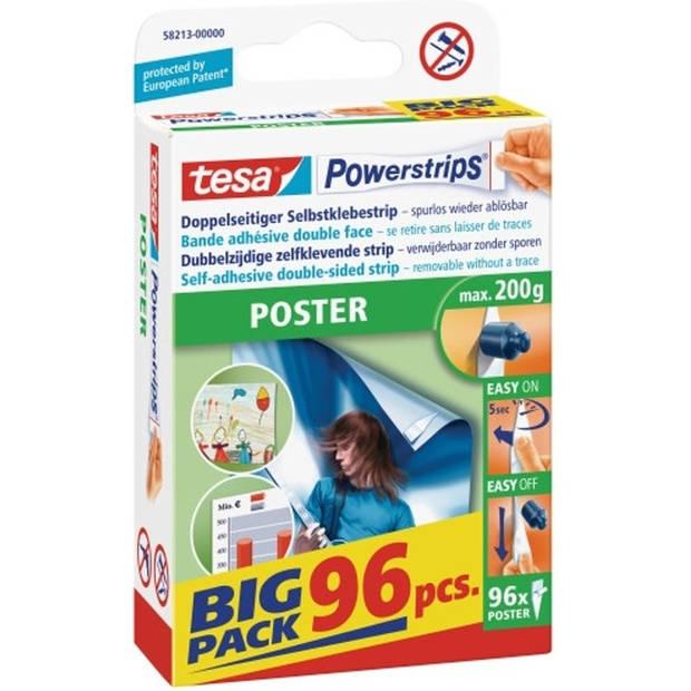 TESA Powerstrips voor Poster dubbelzijdige plakstrips, voordeelverpakking van 96 stuks