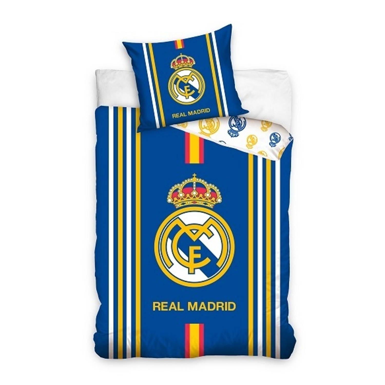 Korting Real Madrid Dekbedovertrek Met Logo 140 X 200 Cm Blauw geel