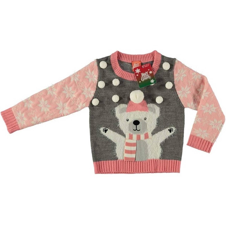 Kersttrui Morgen In Huis.Grijze Kersttrui Ijsbeer Voor Kinderen Foute Kersttruien Meisjes