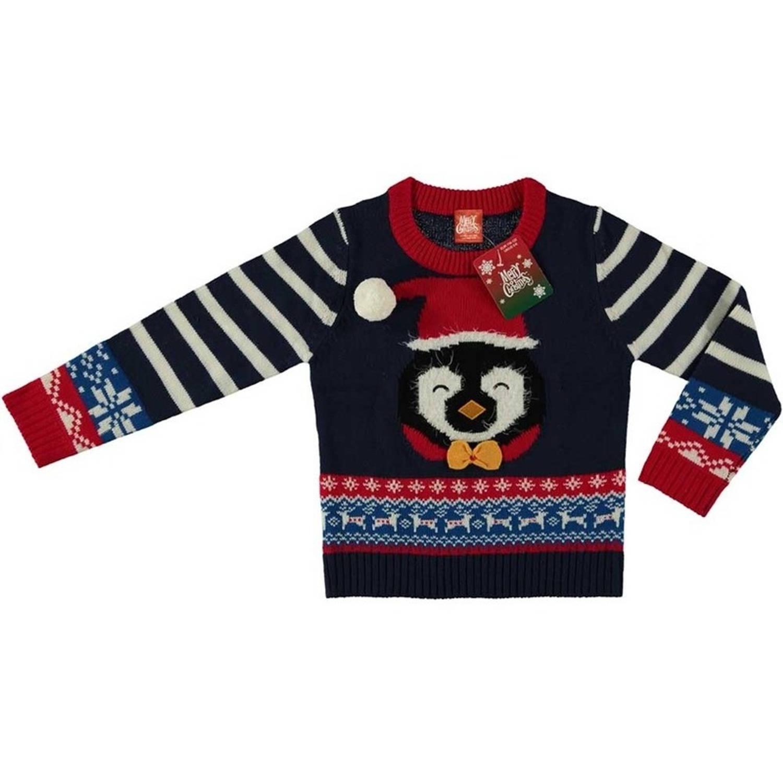 Foute Kersttrui Jongens.Donker Blauwe Kersttrui Pinguin Voor Kinderen Foute Kersttruien