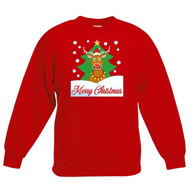Rode kersttrui rendier Rudolf voor kerstboom voor jongens en meisjes - Kerstruien kind 5-6 jaar (110/116)