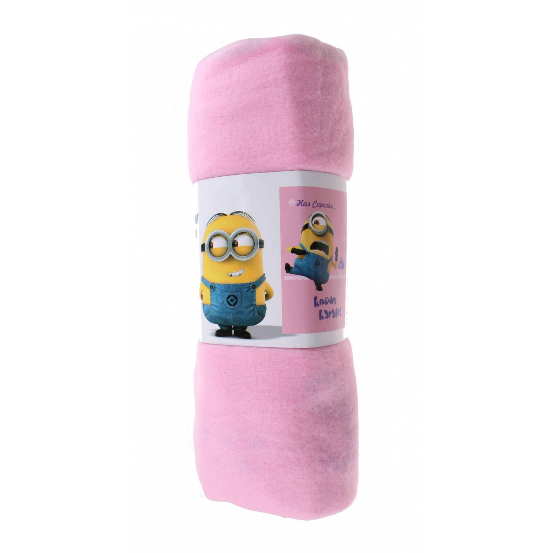 Universal fleece-deken Minions 150 x 100 cm roze