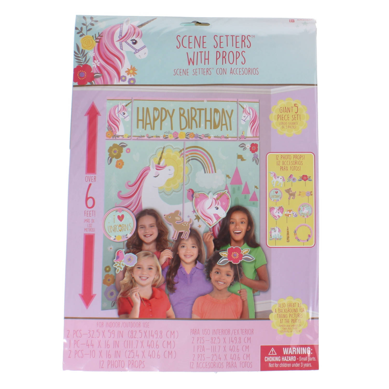 Amscan Wanddecoratie Magical Unicorn Meisjes 180 Cm Blauw/roze