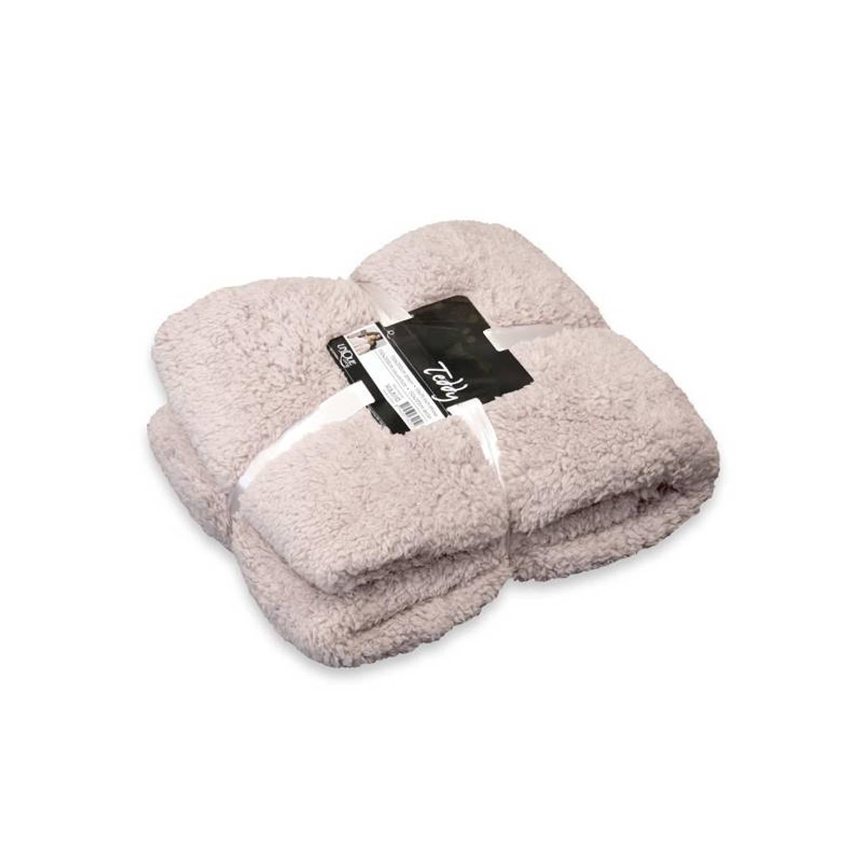 Unique Living Teddy fleece plaid - 100% polyester, Fleece polyester - 150x200 cm - Zand