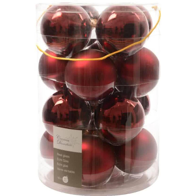 Glas kerstballen 16 stuks Ossenbloed