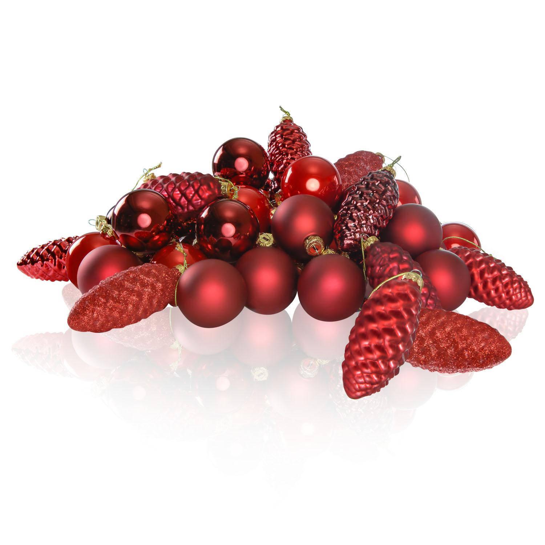 Glas Kerstballen en Dennenappels Combi Mix 61 Stuks - Rood