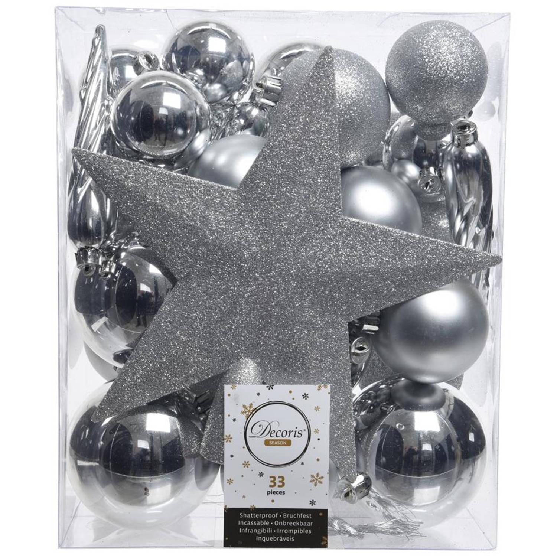 Kerstballen Mix Met Piek Box 33 Stuks Zilver