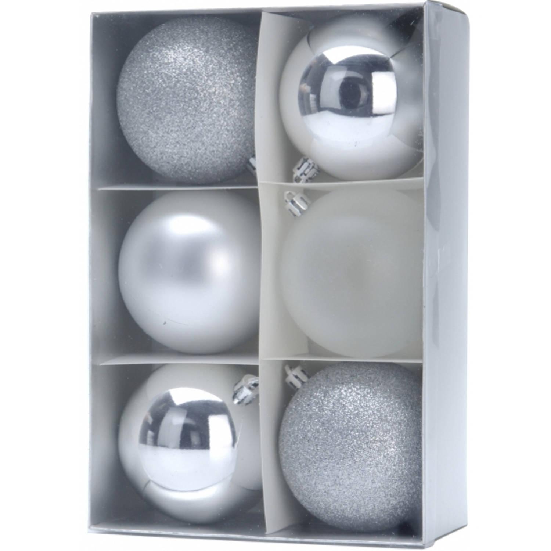 12x kerstboomversiering - zilveren kerstballen 8 cm