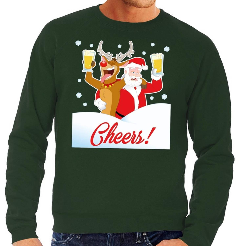 Foute kersttrui cheers met dronken kerstman groen voor heren L (52)