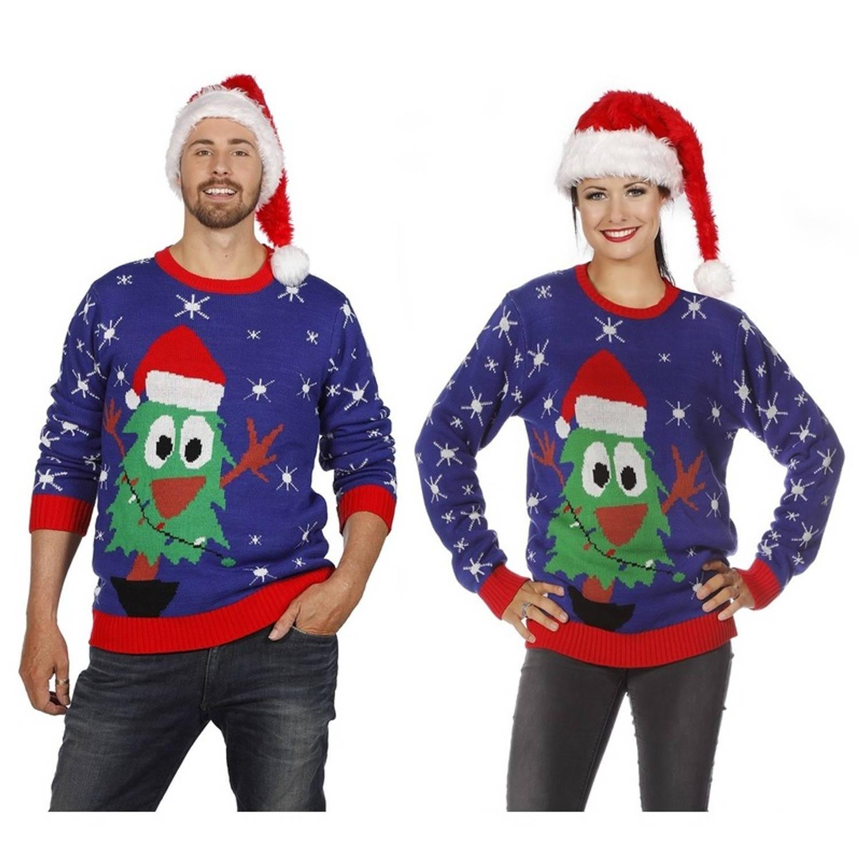 Blauwe kerst trui met kerstboom voor volwassenen 50 (M)