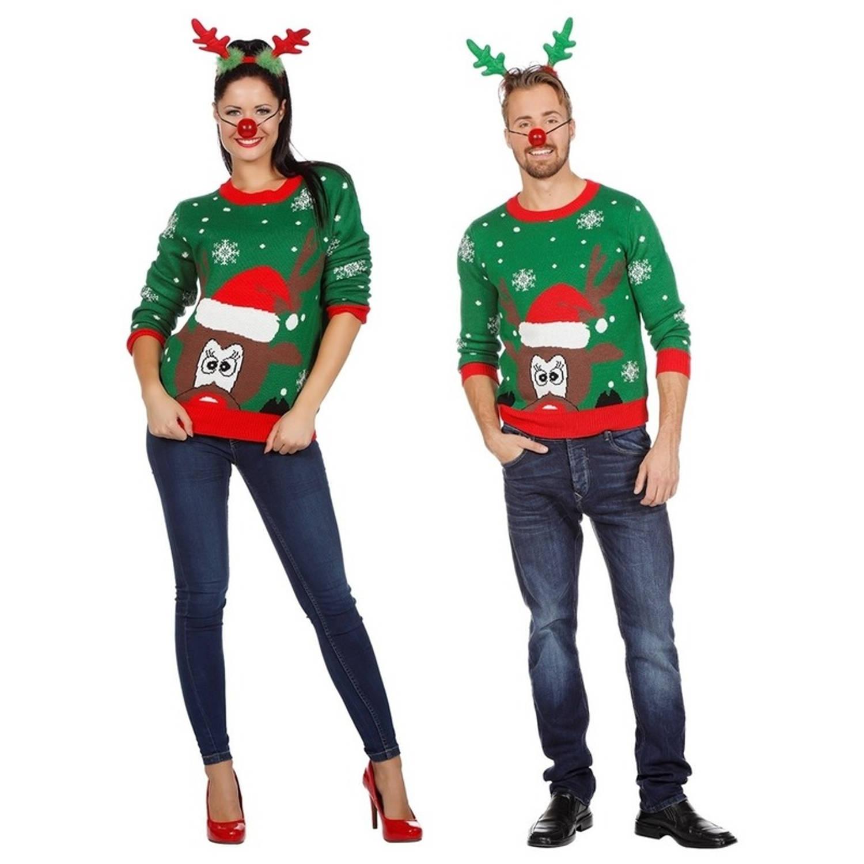 Groene kerst trui met rendier voor volwassenen 48 (S)
