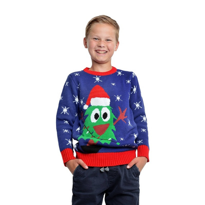 Blauwe kerst trui met kerstboom voor kinderen 3/4 jaar (104/110)