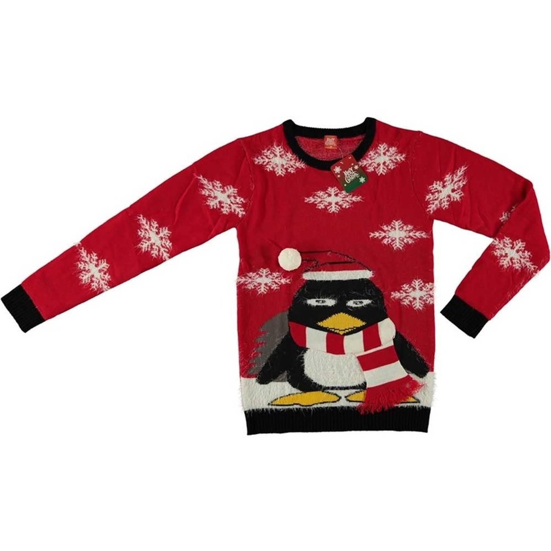 Kersttrui Morgen In Huis.Rode Kersttrui Pinguin Voor Volwassenen Foute Kersttruien Heren