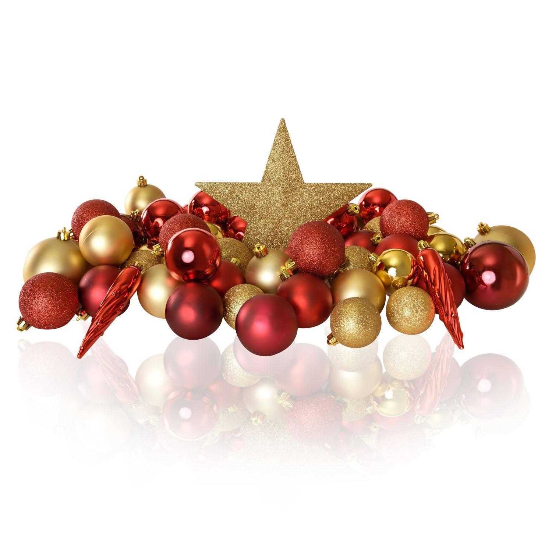Excellent Deco Plastic Kerstballen Mix 63 Stuks Gold Blokker