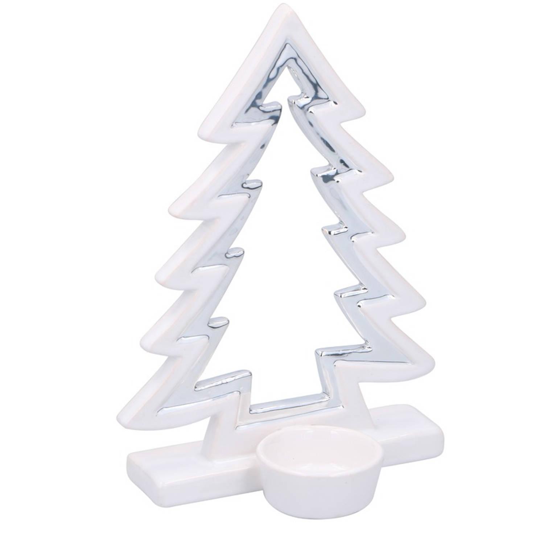 Kerstversiering kerstboom theelichthouder keramiek 21 cm