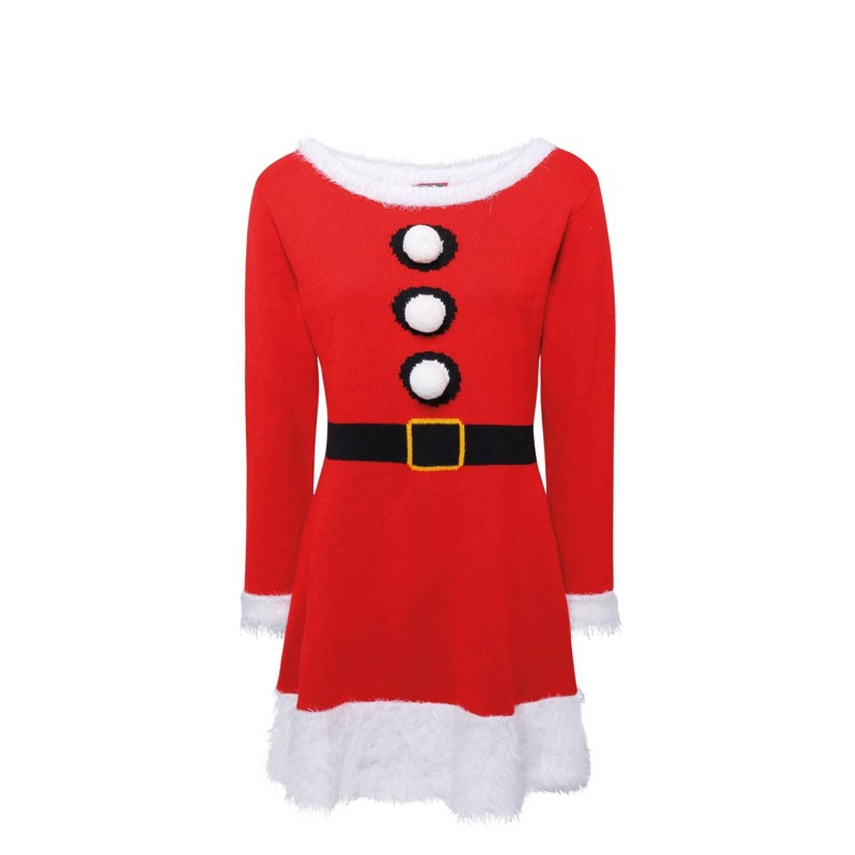 Gebreid Kerstvrouw jurkje voor dames XS