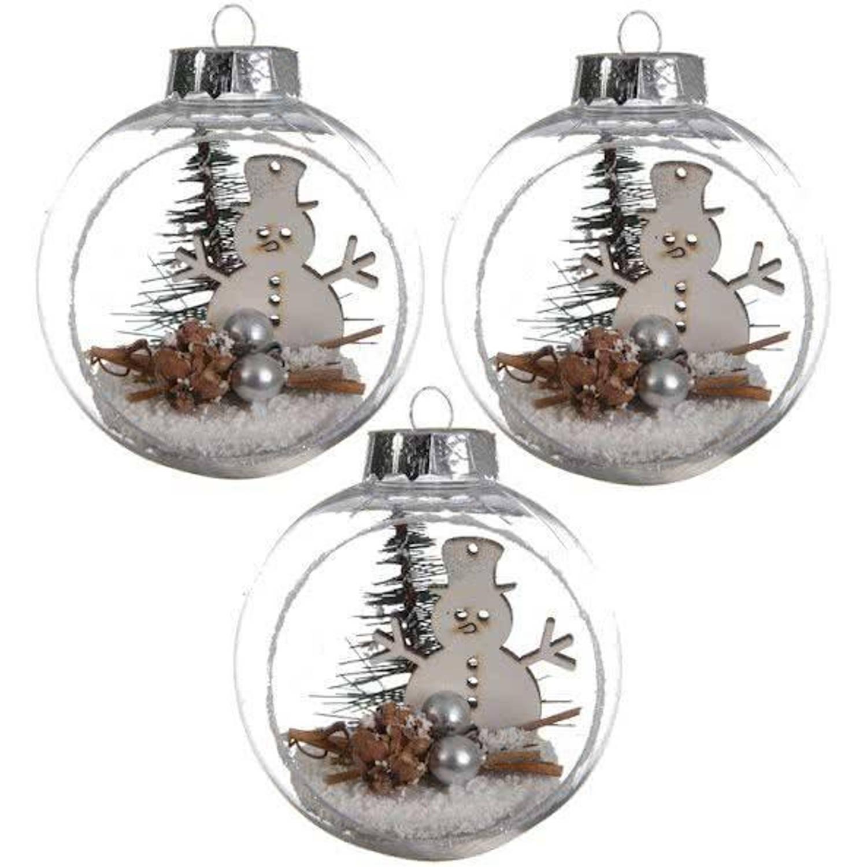 Kerstballen Landschap Sneeuwpop (8cm) Box 3 Stuks Transparant