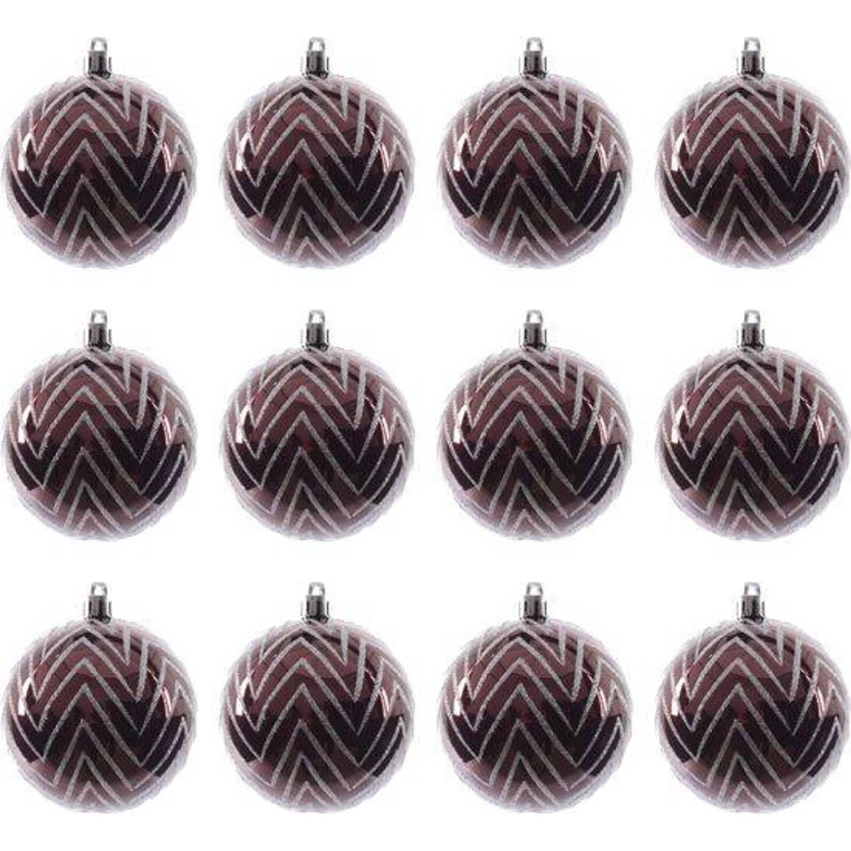 Kerstballen met lijntjes (8 cm) Box 12 Stuks Marsala