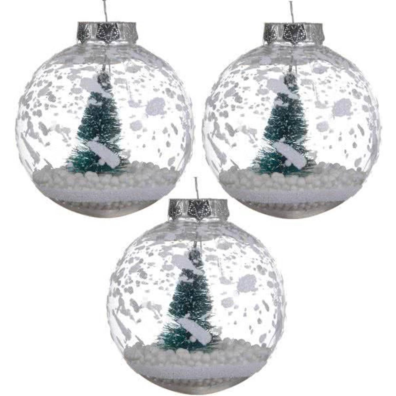 Kerstballen Transparant Met Kerstboom (8cm) Box 3 Stuks Clear