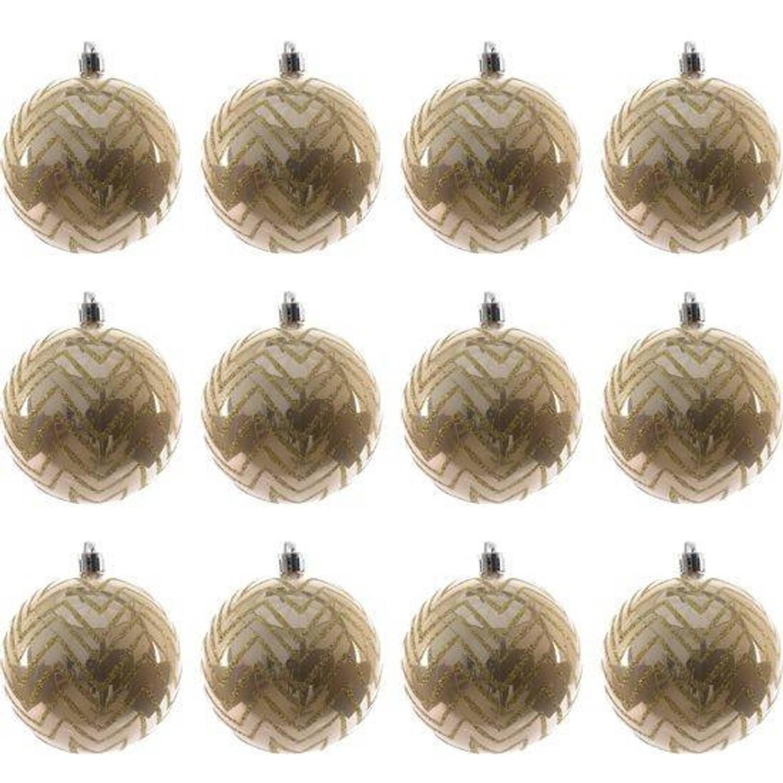Kerstballen met lijntjes (8 cm) Box 12 Stuks Café Latte