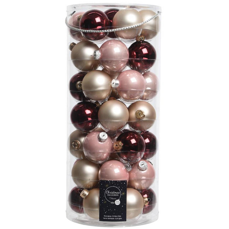 Glas Kerstballen Mix (6cm) Box 49 Stuks Rood Roze