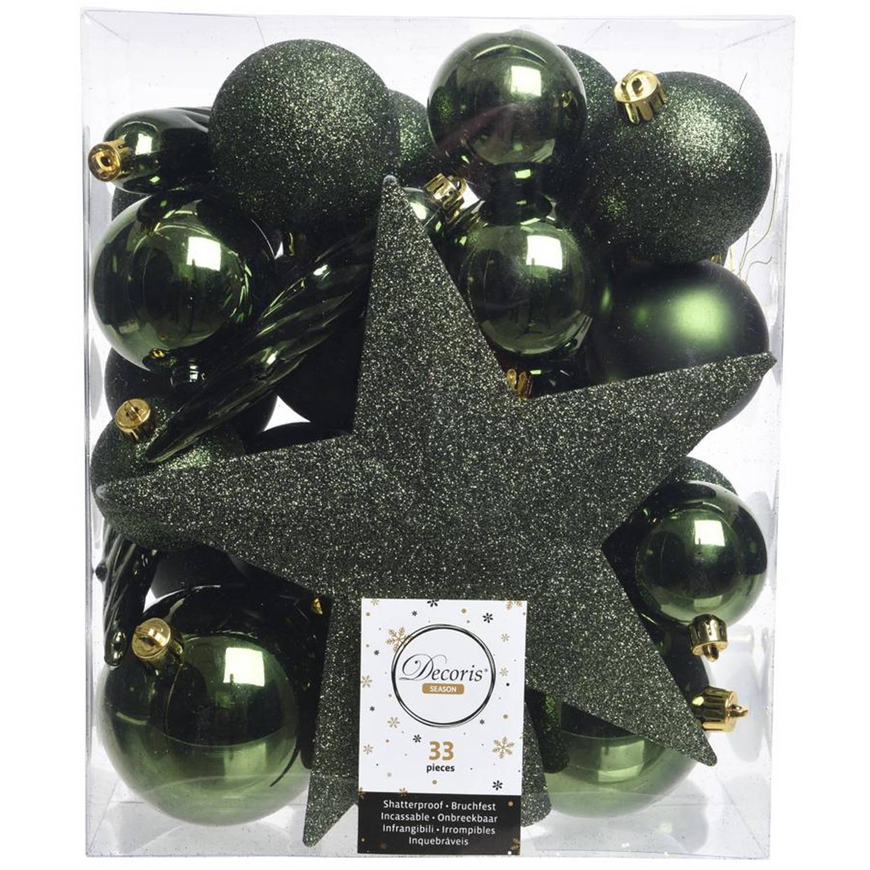Kerstballen Mix Met Piek Box 33 Stuks Dennen Groen
