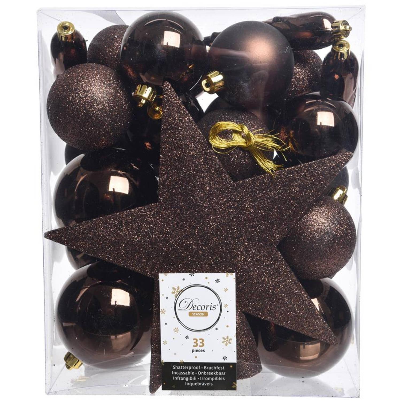 Kerstballen Mix Met Piek Box 33 Stuks Donker Chocolade
