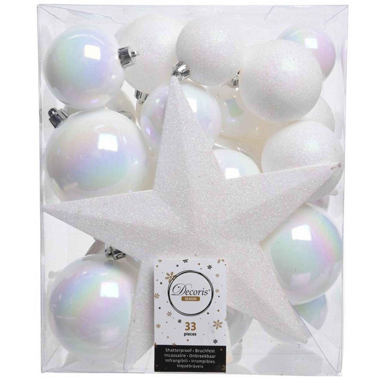 Kerstballen Mix Met Piek Box 33 Stuks Wit Iris