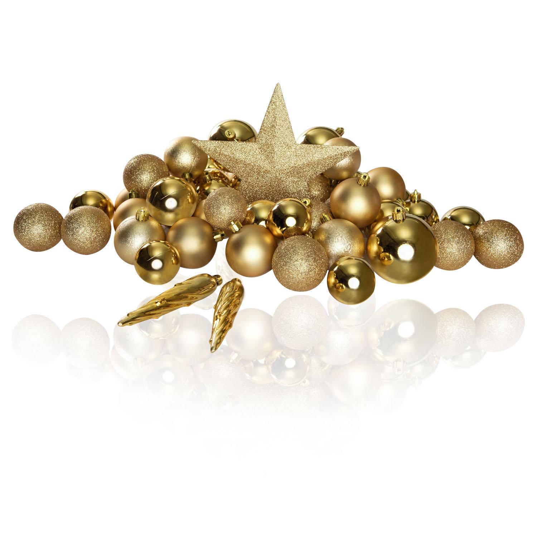 Korting Excellent Deco Plastic Kerstballen Mix 63 Stuks Light Gold