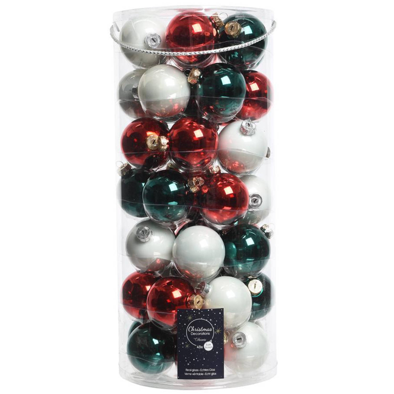 Glas Kerstballen Mix (6cm) Box 49 Stuks Waiting For Santa