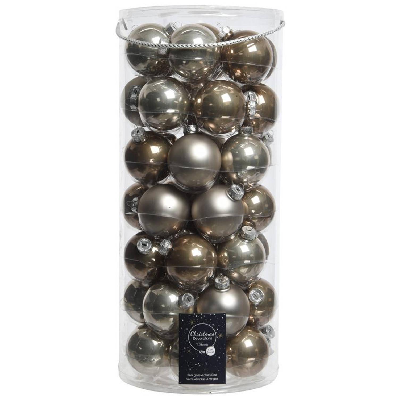 Glas Kerstballen Mix (6cm) Box 49 Stuks Naturel