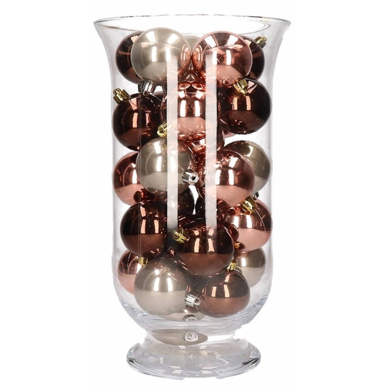 Woondecoratie roze glamour kerstballen in vaas