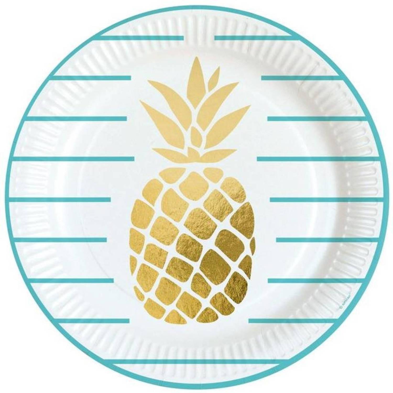 Amscan Feestborden Ananas 8 Stuks 23 Cm