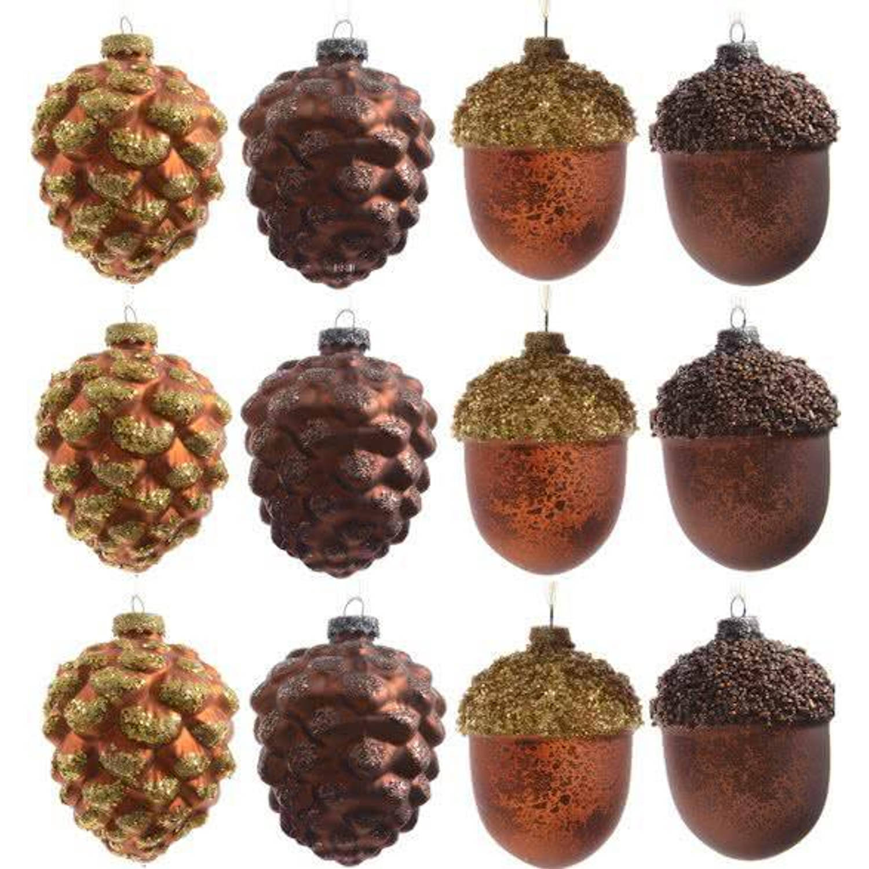 Glas Kerstboomhangers Dennenappels (10 cm) Box 12 Stuks Brown