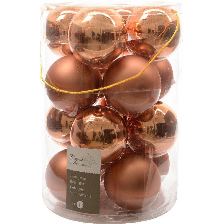 Glas kerstballen 16 stuks Amandel