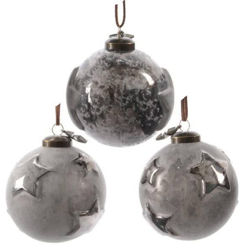 Glas Kerstballen Ster Box 3 Stuks Grey